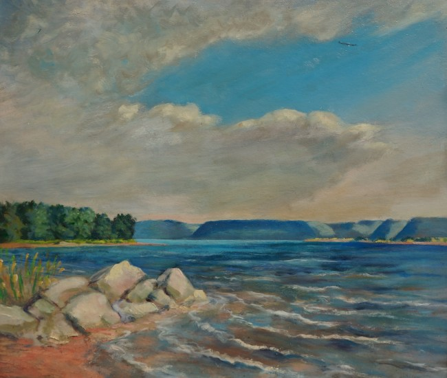 Clement Haupers landscape painting lake pepin minnesota