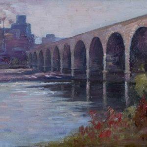 Painting of Stone Arch Bridge, Minneapolis