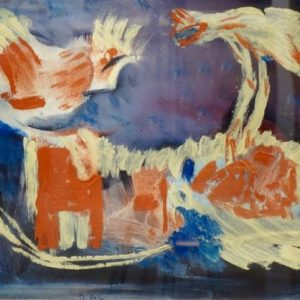Dewey Albinson Abstract Rooster and Chicken