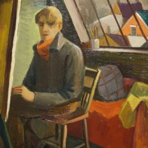 Dewey Albinson Self Portrait in Studio Painting