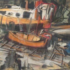 Elof Wedin Pastel Boats Painting