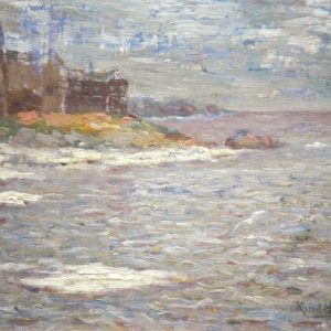 Knute Heldner painting of Duluth from Lake Superior Shoreline with Fitgers Brewery